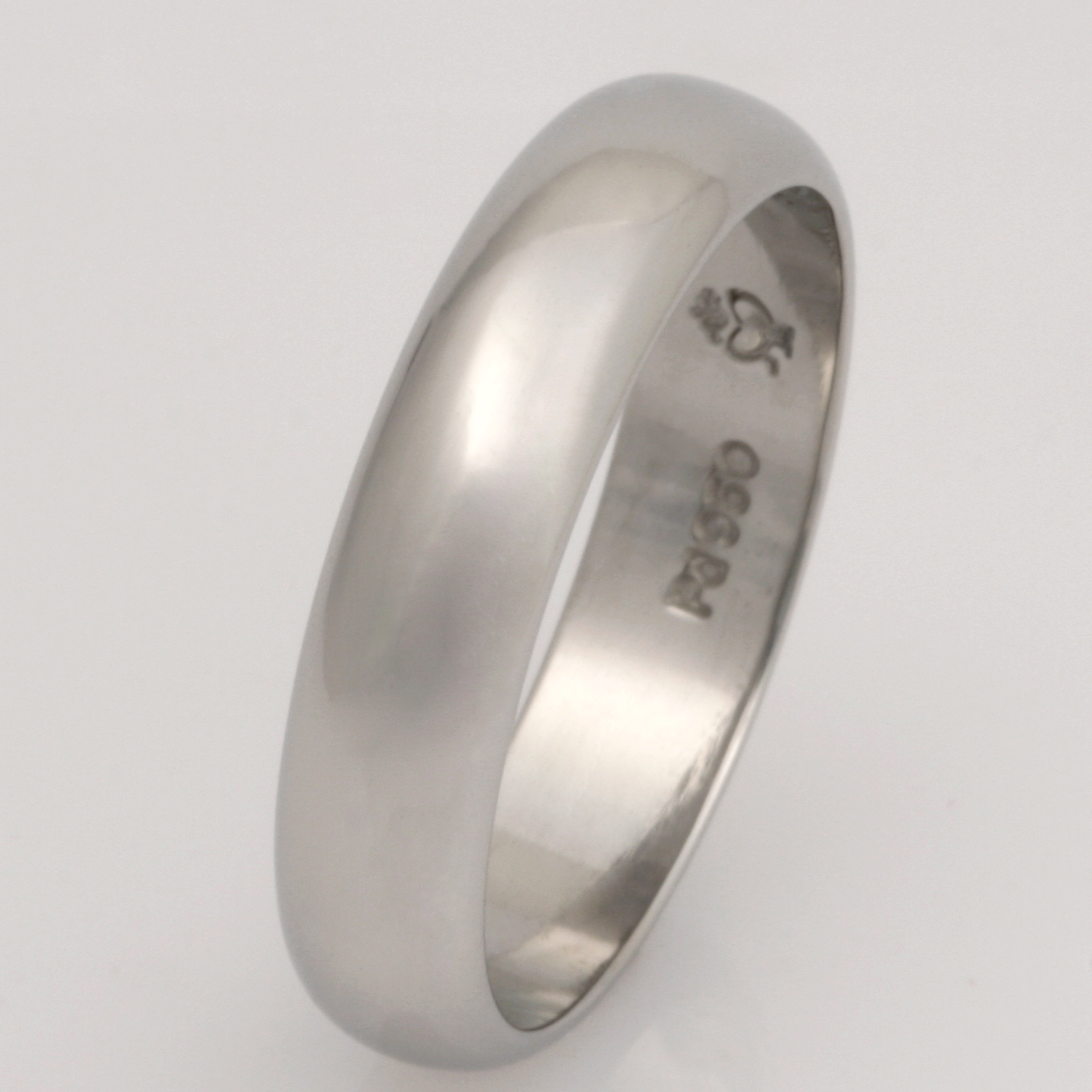 Handmade mens palladium wedding ring