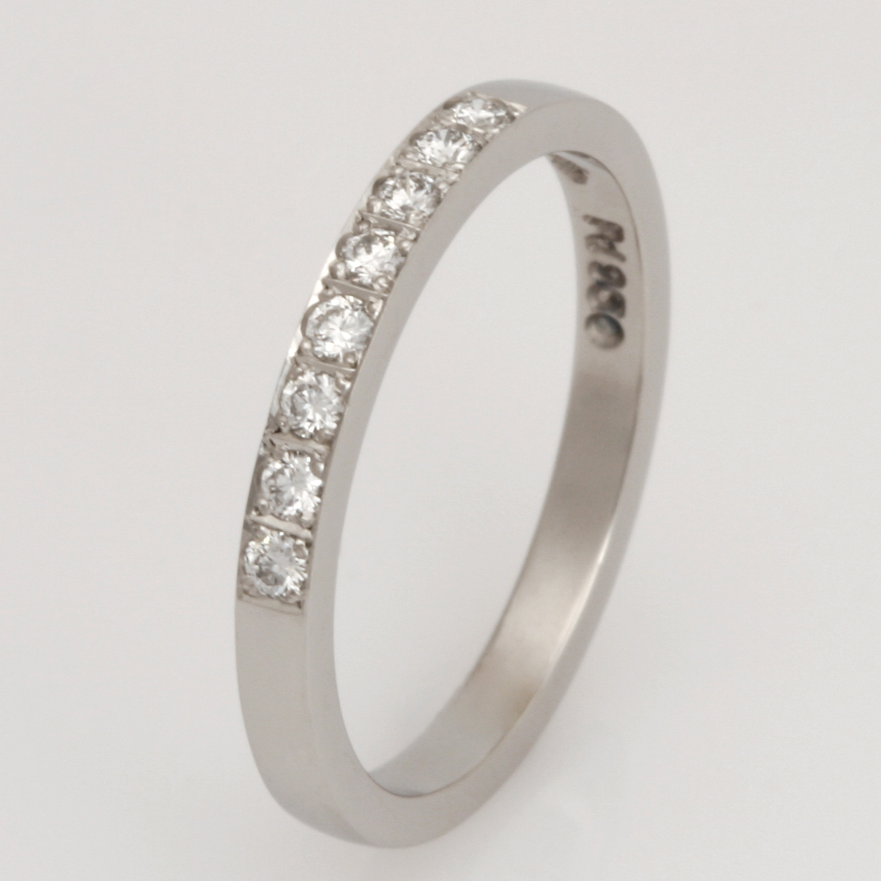 Handmade ladies palladium diamond wedding ring