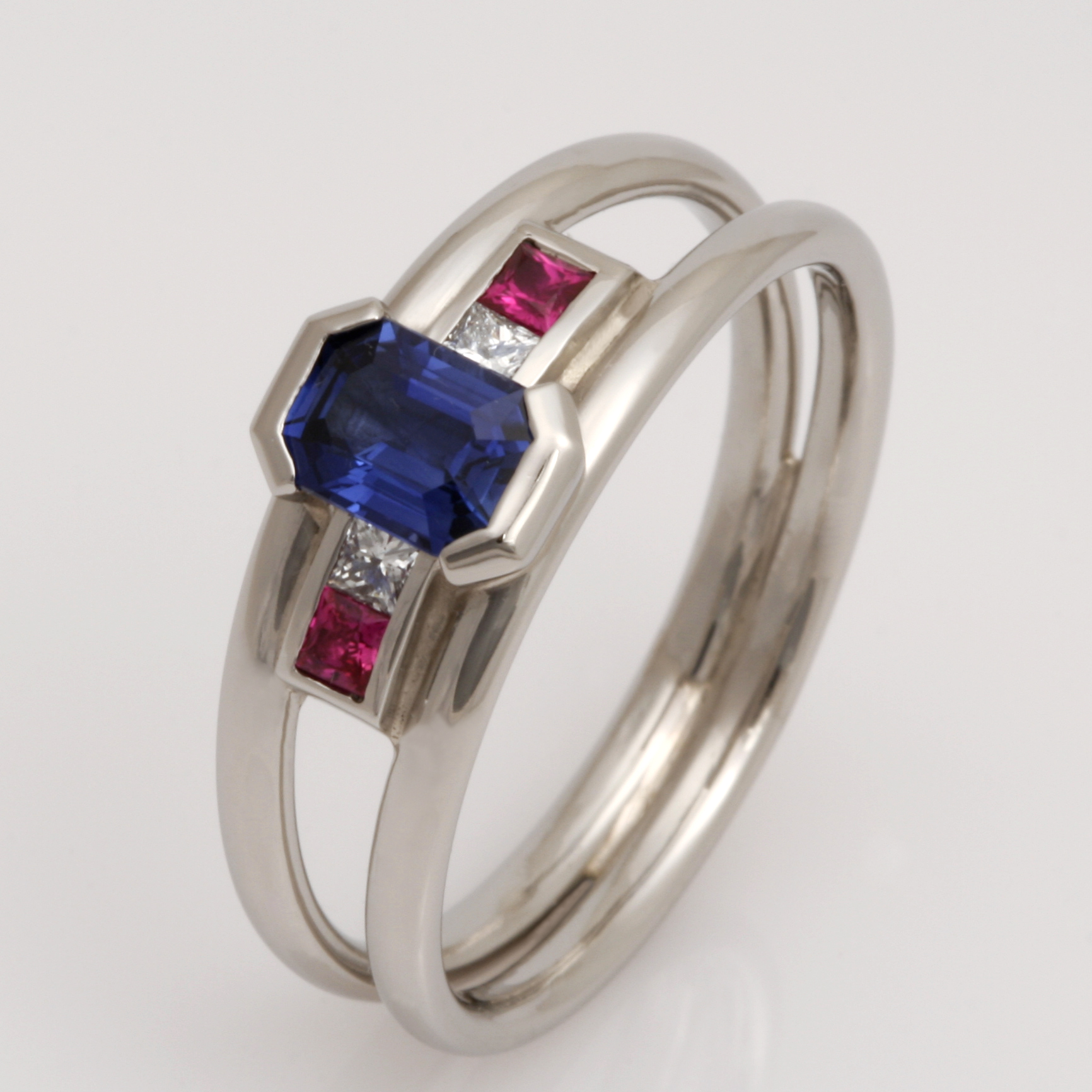 Handmade palladium, Ceylon sapphire, ruby and diamond engagement ring