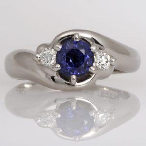 Handmade palladium Ceylon sapphire and diamond ring