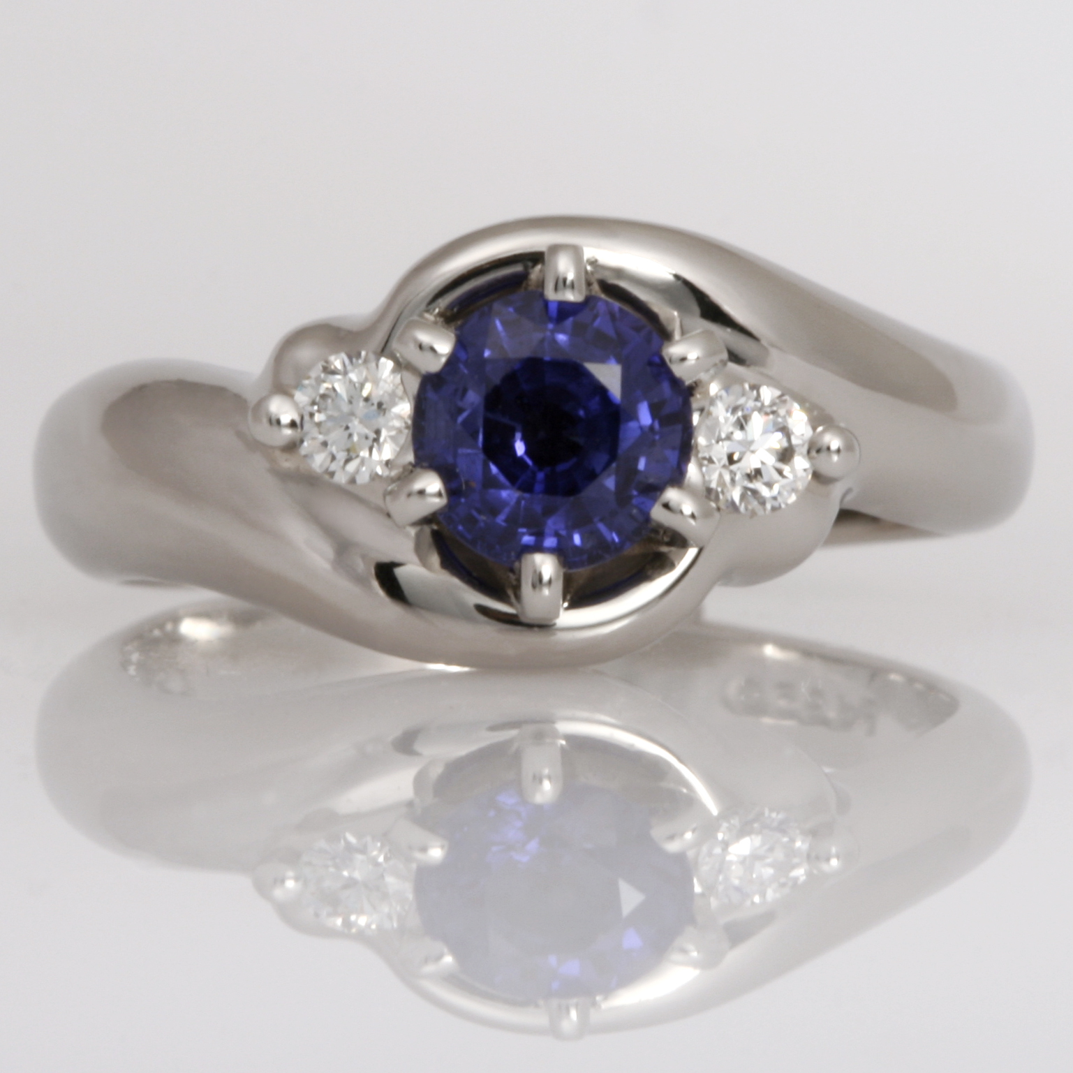 Handmade palladium Ceylon sapphire and diamond ring