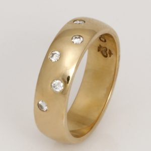 Ladies handmade 18ct  yellow gold and diamond wedding ring