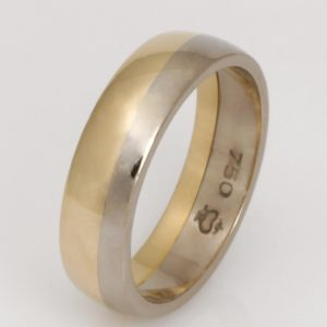 Mens handmade 18ct yellow and white gold Wedding ring