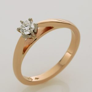 Handmade 9ct rose gold diamond engagement ring