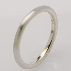 Handmade 9ct white gold round ladies wedding ring