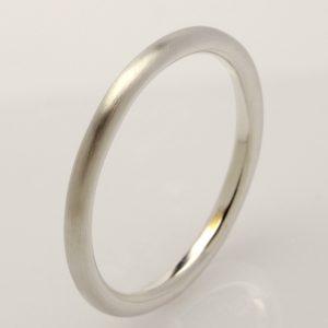 Handmade 9ct white gold round mens wedding ring
