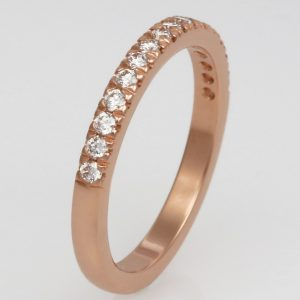 Handmade ladies 18ct rose gold and diamond Wedding ring