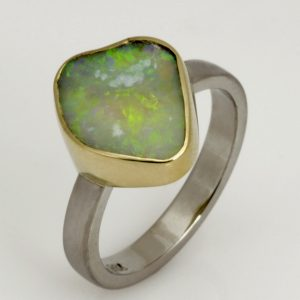 Handmade ladies palladium and 18ct green gold opal dress ring