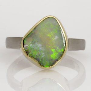Handmade ladies palladium and 18ct green gold opal dress ring