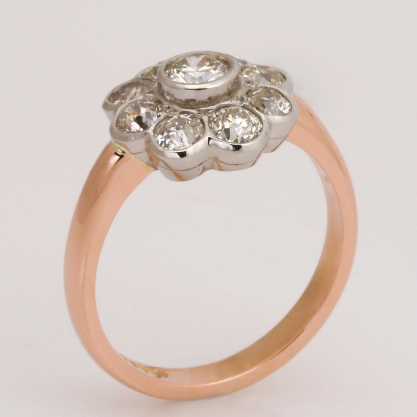 Handmade ladies palladium and 18ct rose gold diamond Engagement ring