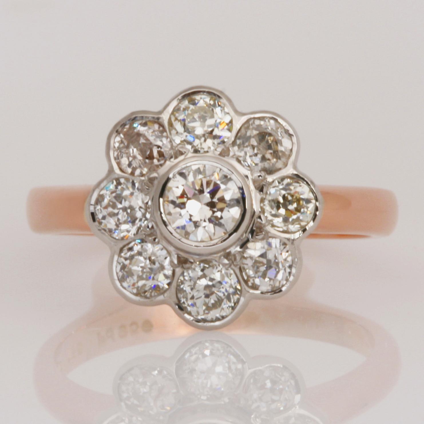 Handmade ladies palladium and 18ct rose gold diamond Engagement ring