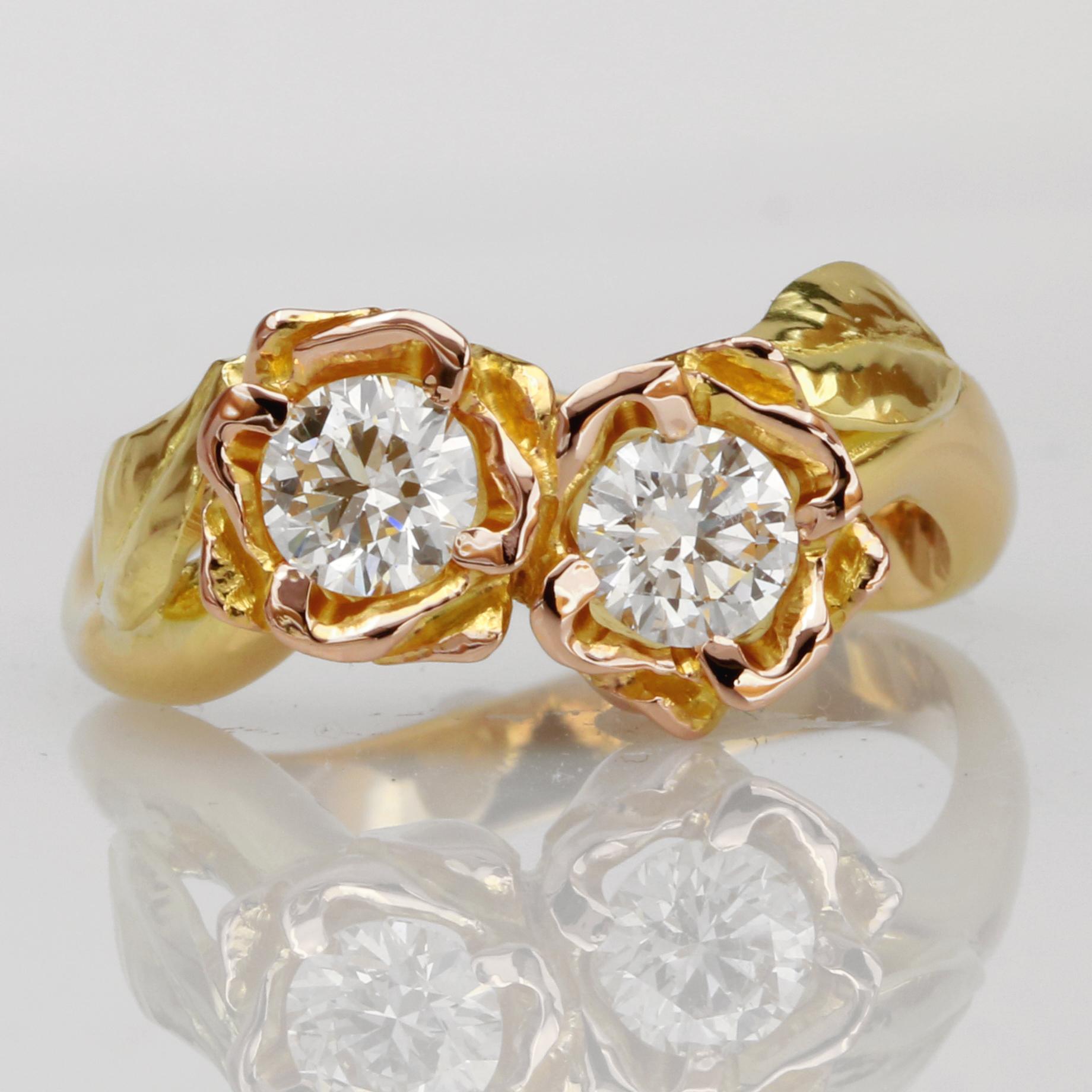 Handmade ladies 18ct yellow, rose and green gold diamond engagement ring