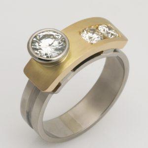 """Ladies handmade 18ct yellow and white gold diamond """"Architect"""" ring"""