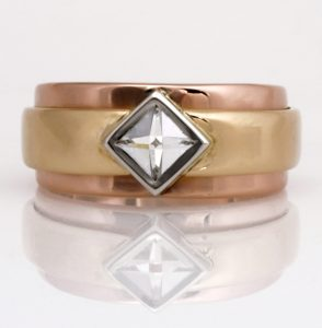 Handmade ladies platinum and 18ct yellow and rose gold Context diamond Engagement ring