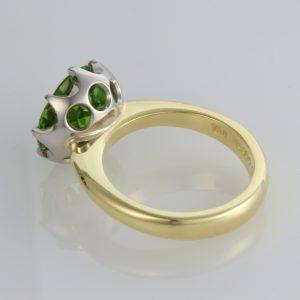 Handmade 18ct green gold and '8 claw' Palladium set Peridot dress ring