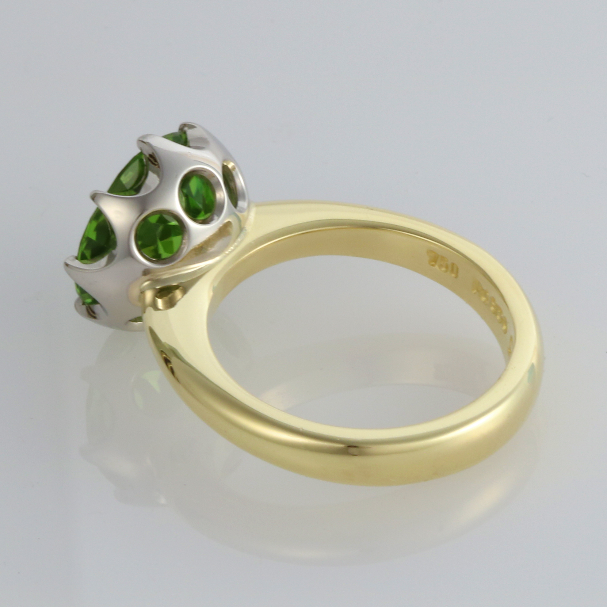 Handmade 18ct green gold and '8 claw' Palladium set Peridot Engagement ring