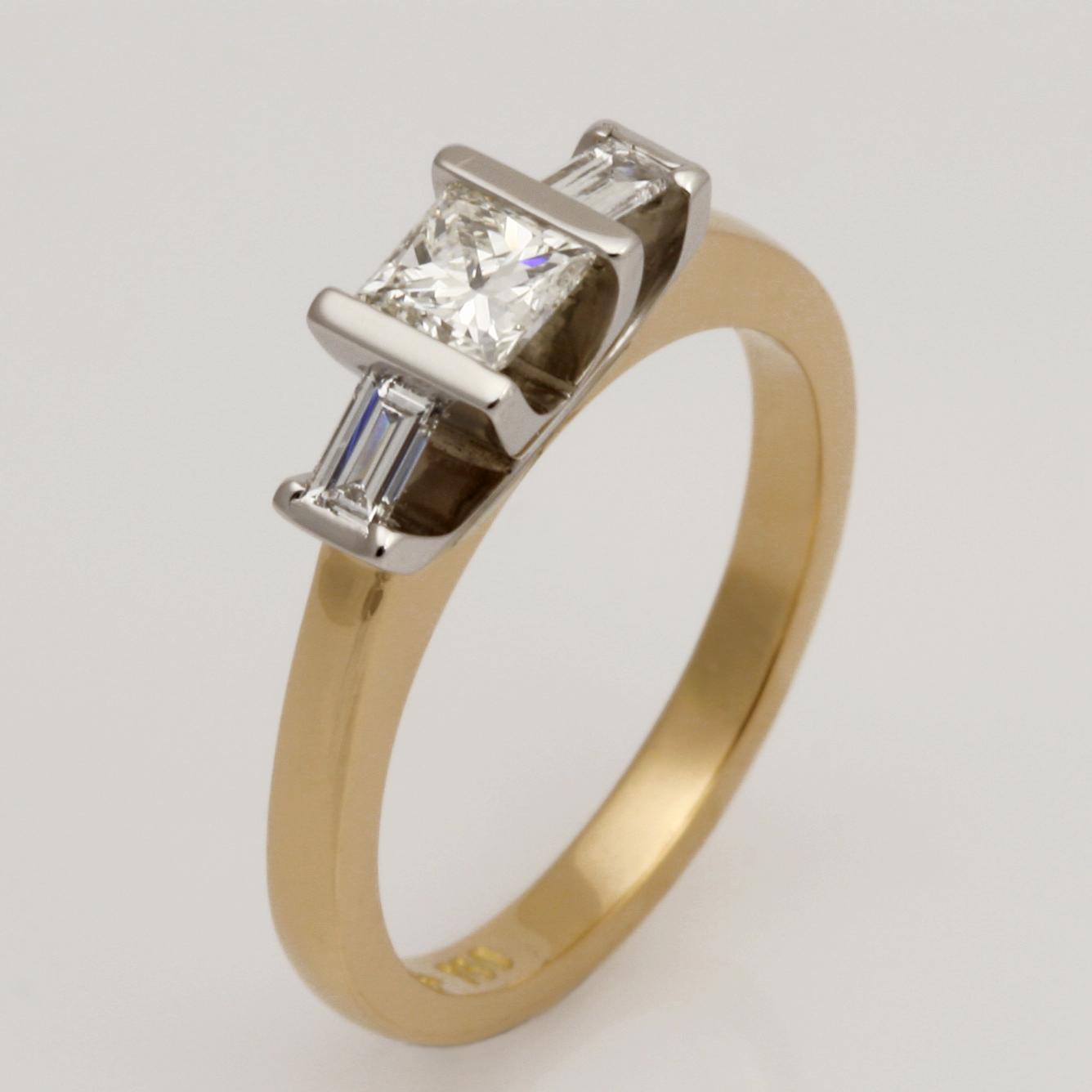 Ladies handmade Platinum and 18ct yellow gold diamond engagement ring