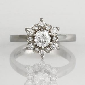 Handmade ladies platinum and diamond engagement ring