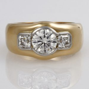 Handmade Ladies platinum and 18ct  yellow gold diamond Engagement ring