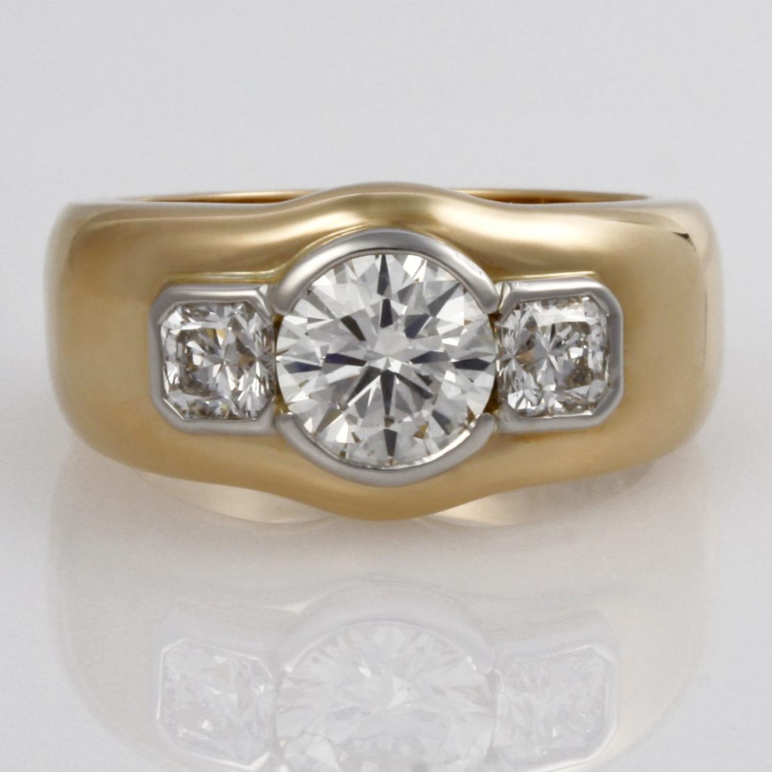 Handmade Ladies platinum and 18ct  yellow gold diamond Engagement ring