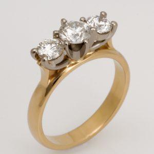 Ladies handmade 18ct white and yellow gold diamond engagement ring