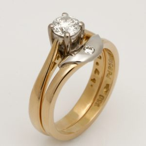 Ladies handmade palladium and 18ct yellow gold diamond wedding ring