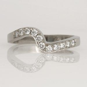 Handmade ladies Platinum Diamond set 'fitted' Wedding ring