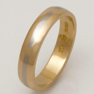 Mens handmade 18ct  yellow gold and palladium Wedding ring