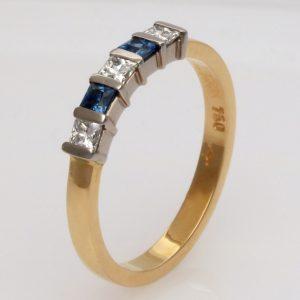 Ladies handmade 18ct, yellow and white gold,  Diamond and 'Ceylon' Sapphire Eternity ring