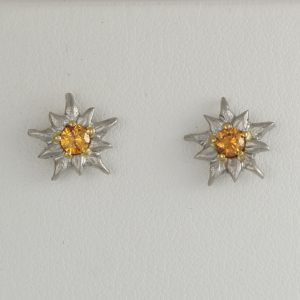 Handmade Palladium and 18ct yellow gold, natural orange Diamond Edelweiss earrings