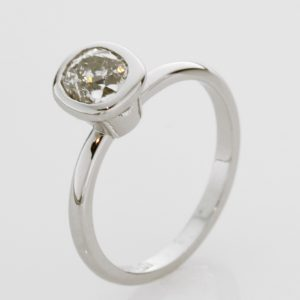 Ladies handmade 18ct white gold and diamond 'pinkie ring'