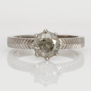 Ladies handmade Palladium 'Salt & Pepper' Diamond Engagement ring