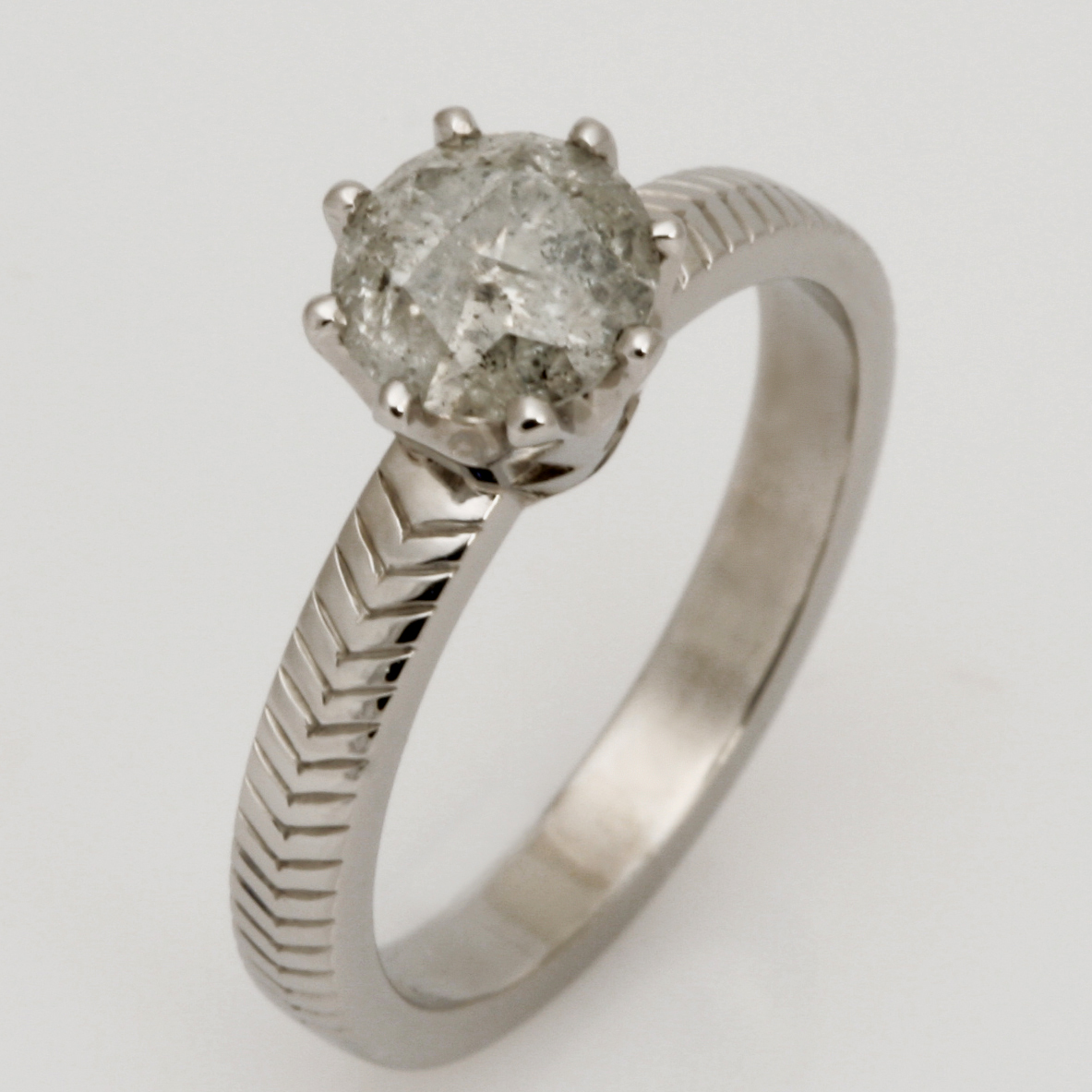 Ladies handmade Palladium 'Salt & Pepper' Diamond Engagement ring