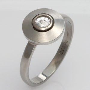 Handmade Palladium and 'Spirit' Diamond ring