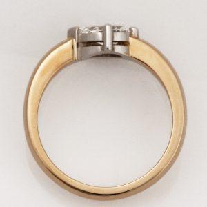 Handmade Platinum and 18ct yellow gold, pear shaped diamond Engagement ring
