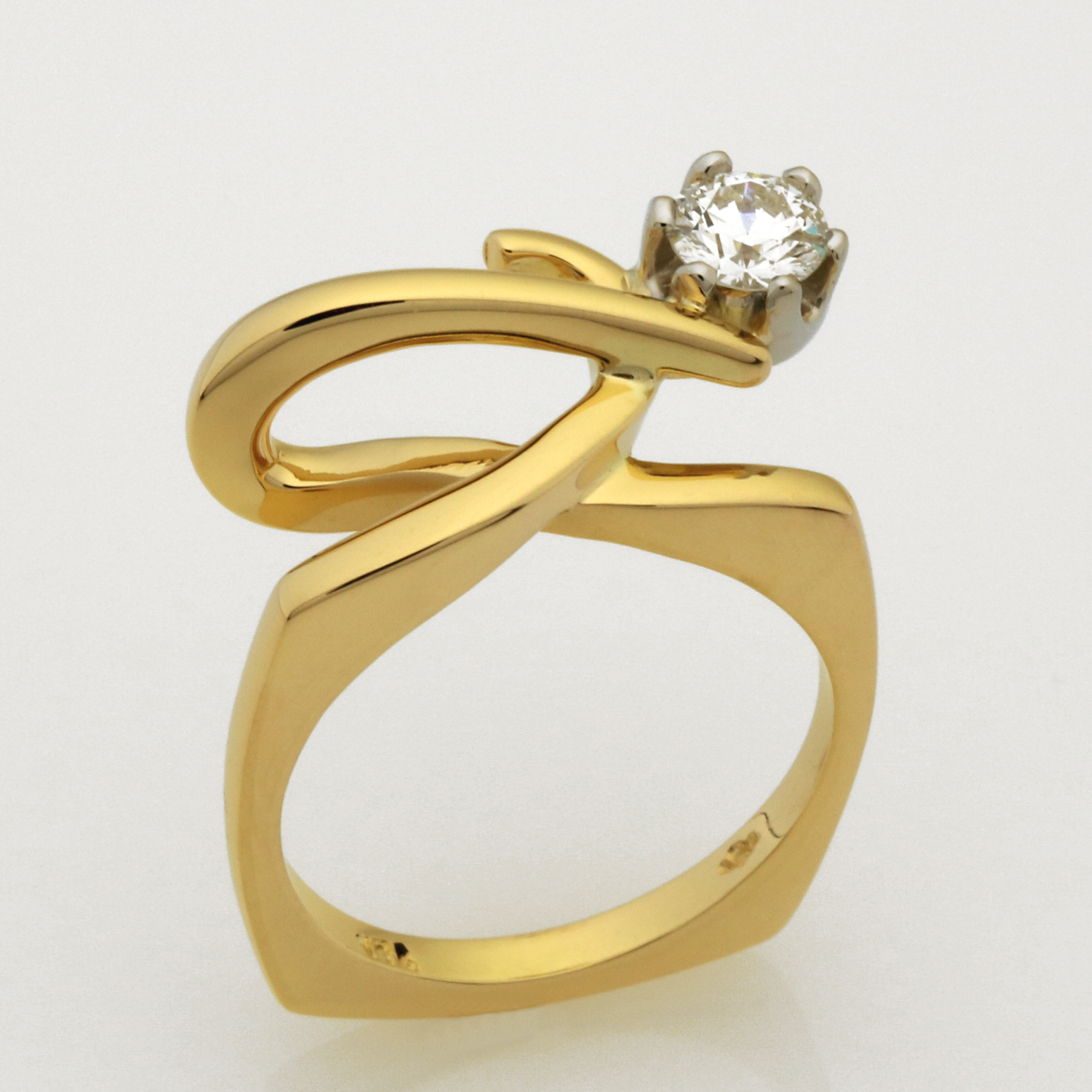 Handmade ladies 18ct yellow gold, Palladium set, 'EightStar' brilliant cut Diamond ring