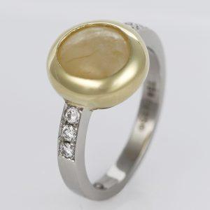 Handmade Palladium and 18ct Green Gold, yellow 'Star' Sapphire and Diamond ring