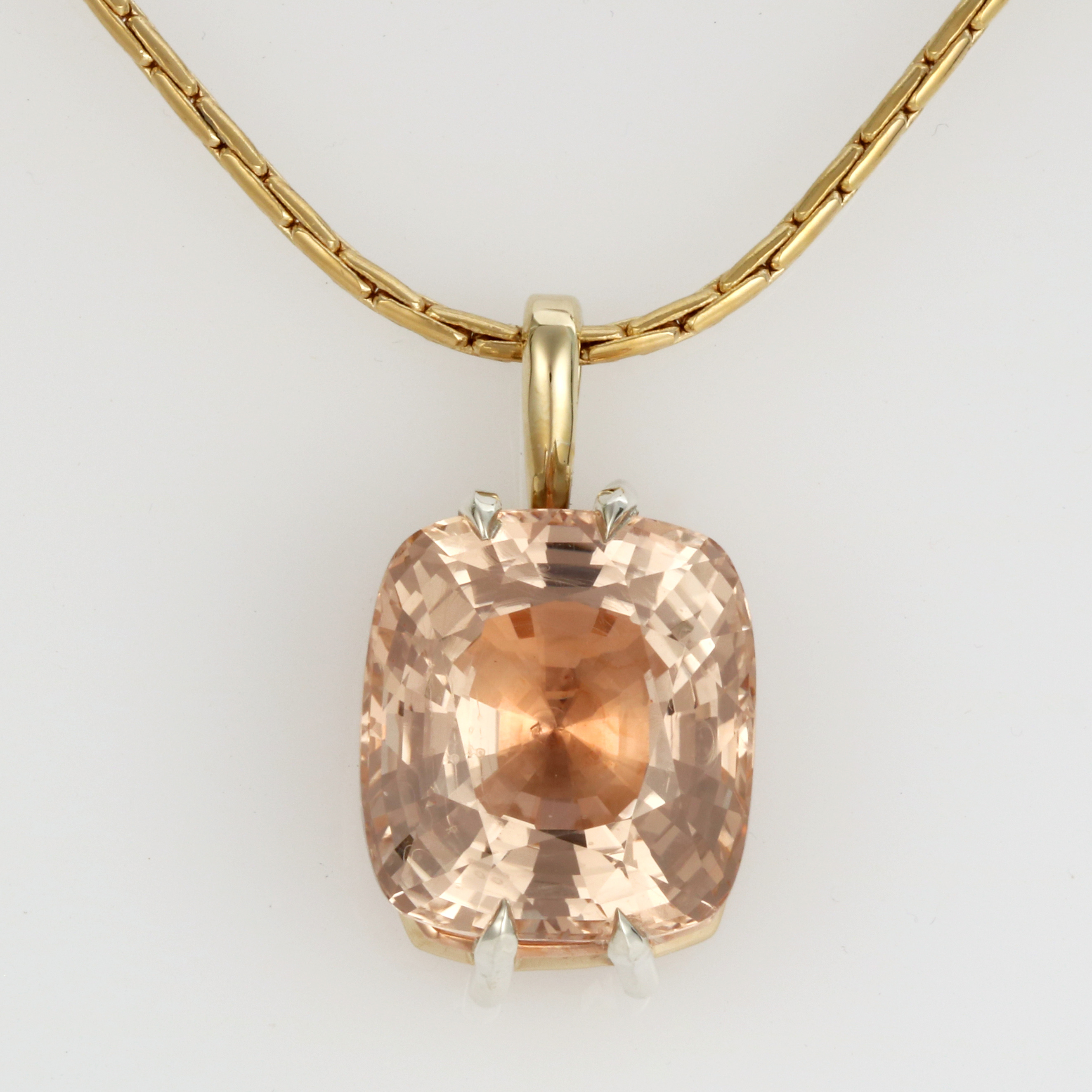 Ladies handmade 9ct Yellow, White and Rose Gold, Pink Topaz Pendant