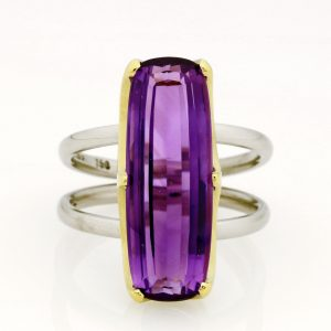 Ladies handmade 18ct  Green gold and Palladium, Amethyst dress ring.