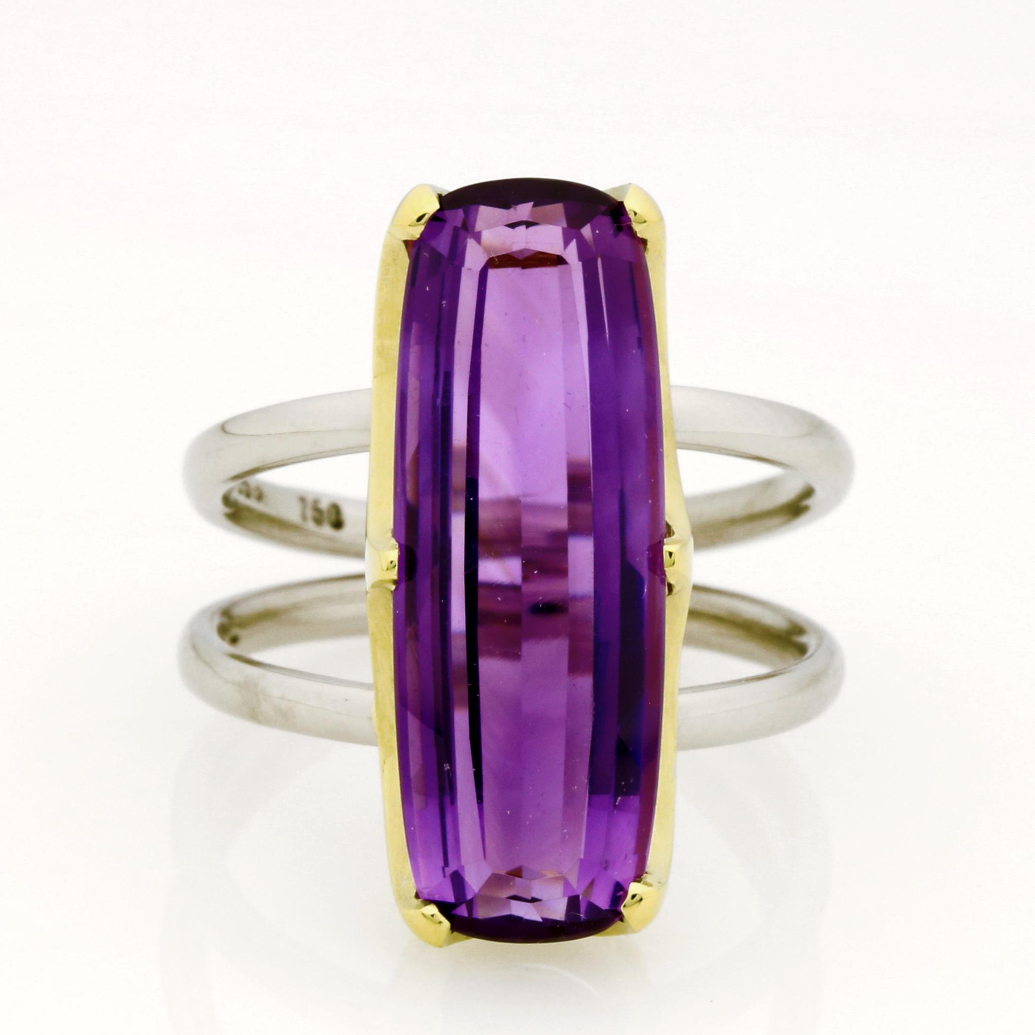 Ladies handmade 18ct  Green gold and Palladium, Amethyst dress ring.