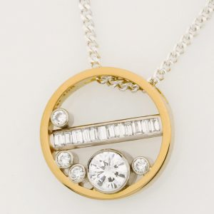 Ladies Handmade 18ct Yellow and White Gold, and Diamond Pendant
