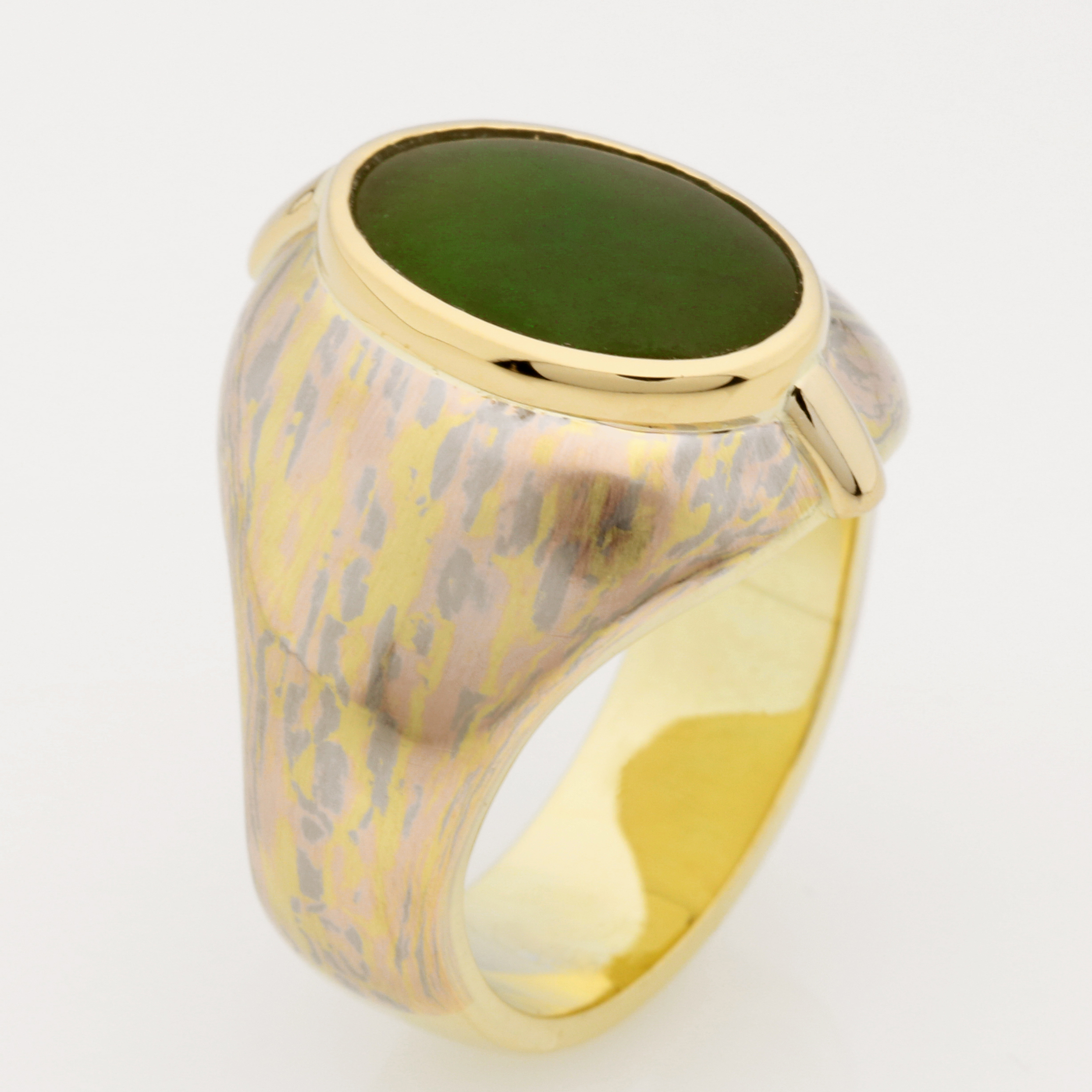 Mens Handmade 18ct Rose, White and Yellow Marbled Gold, 14ct Yellow gold and Nephrite Jade (Olive Green variety) Signet Ring.