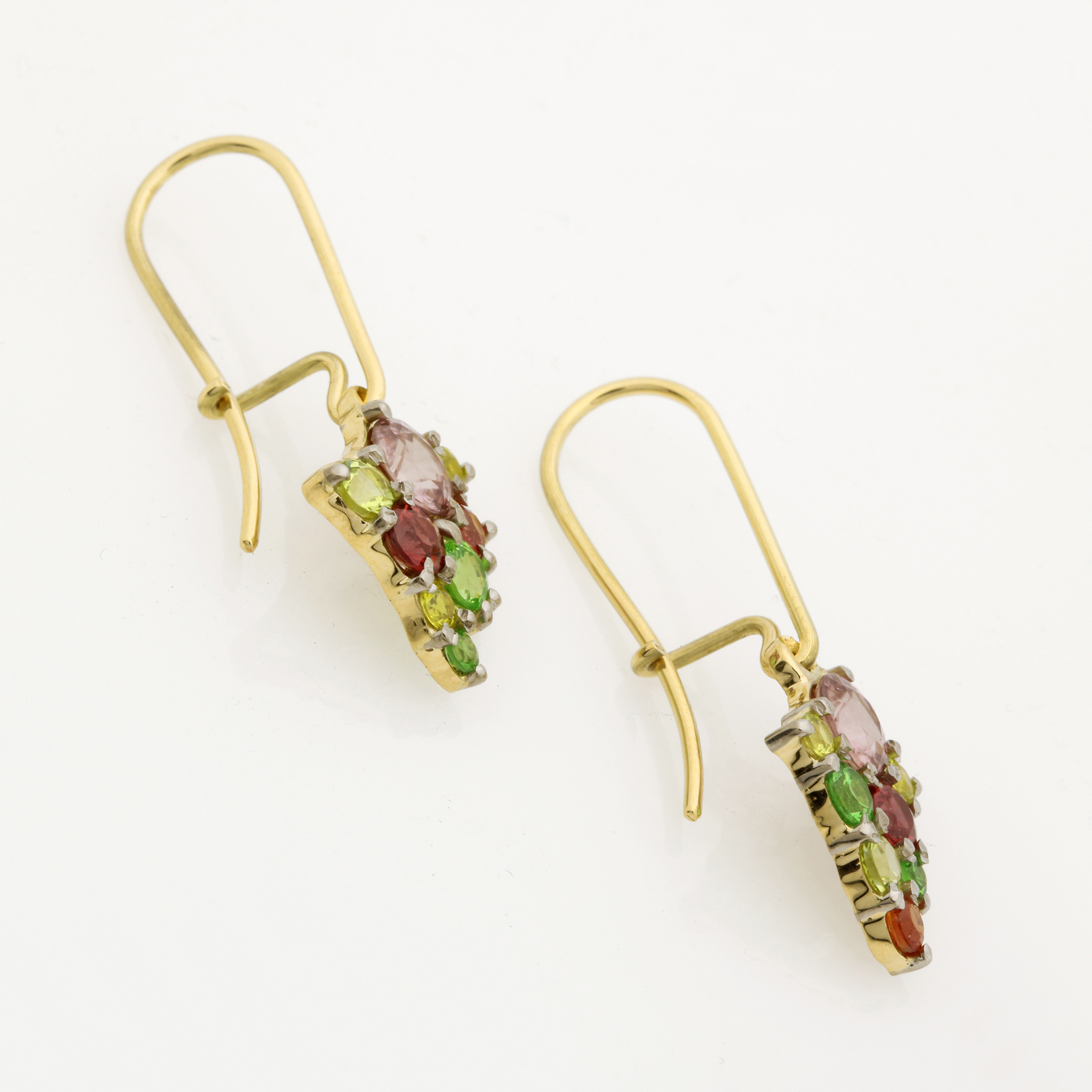 One pair of Ladies handmade 18ct Yellow and White Gold, multi-coloured Gemstone Earrings