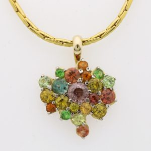 Ladies handmade 18ct Yellow and White Gold, multi-coloured  Gemstone pendant.