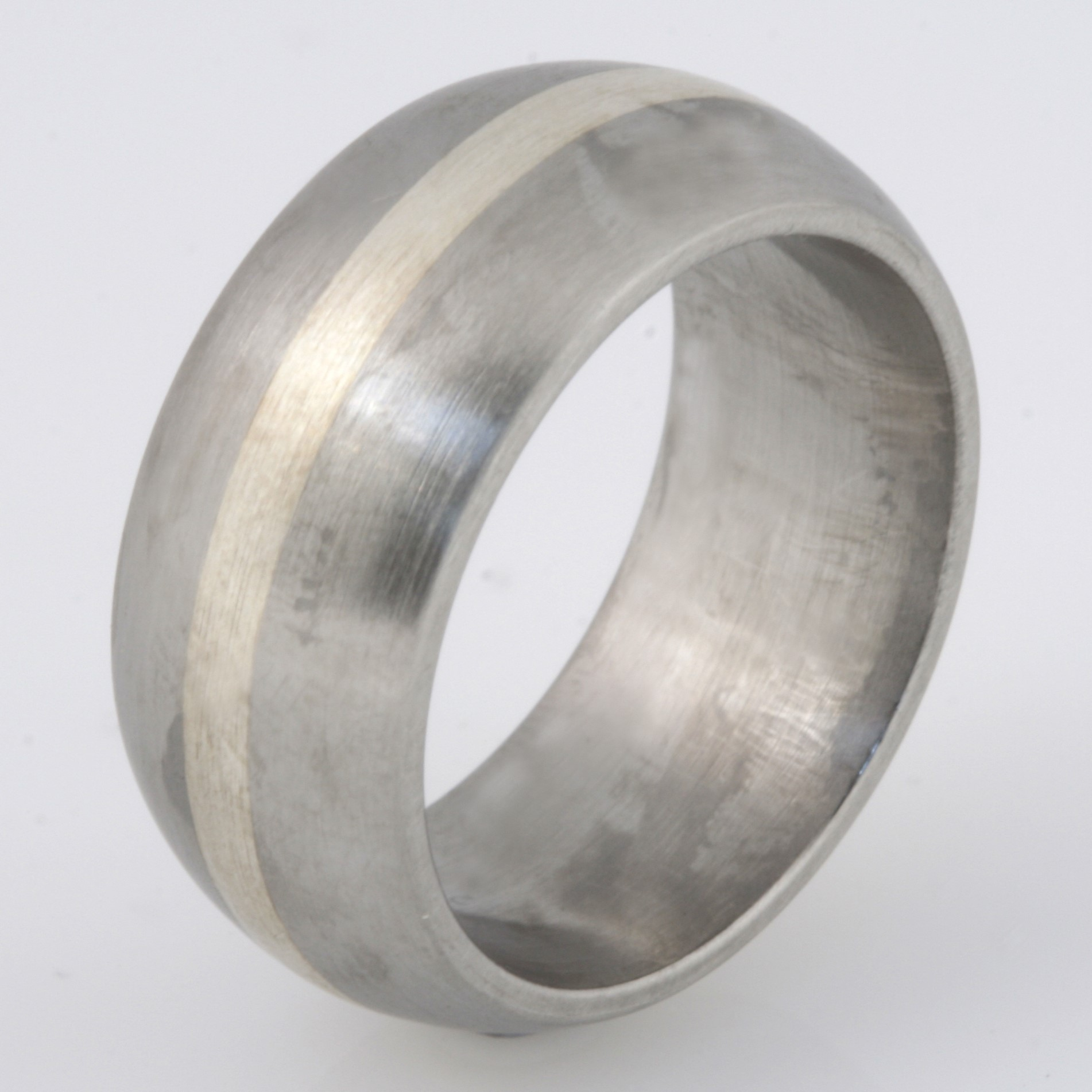 R016 stainless steel & sterling silver mens ring $245