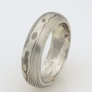 Ladies handmade 18ct white gold and sterling silver mokume gane wedding ring