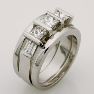 Ladies handmade platinum princess cut and baguette diamond engagement ring with joined split platinum wedding bands