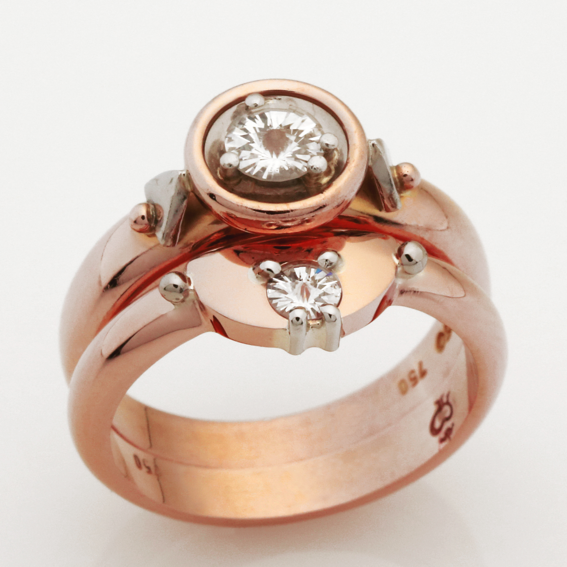 Ladies handmade 18ct rose gold and spirit diamond wedding ring
