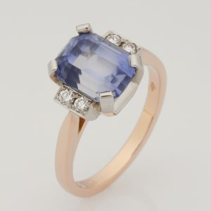 Ladies handmade 9ct rose gold and palladium sapphire and diamond ring