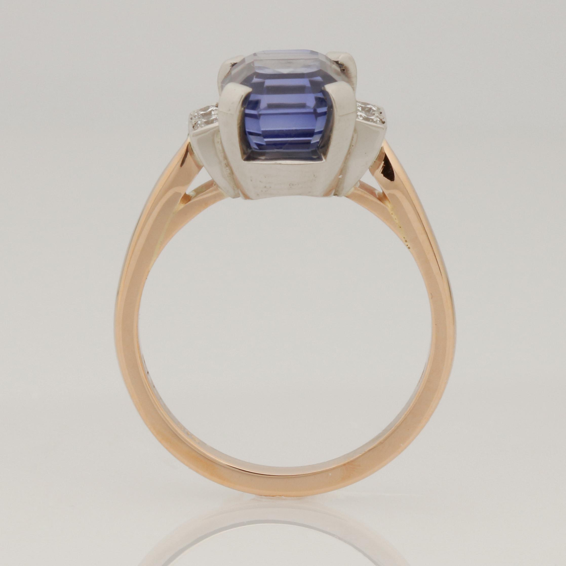Ladies handmade 9ct rose gold and palladium sapphire and diamond ring